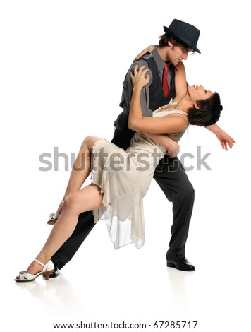 Young couple dancing ballroom dance isolated over white background