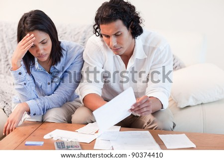 Young couple depressed about financial problems