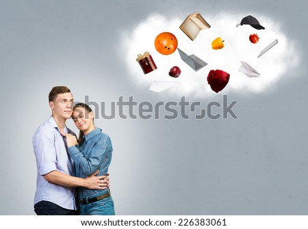 Young couple dreaming about future successful life