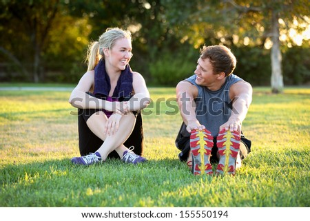 Young couple exercising together