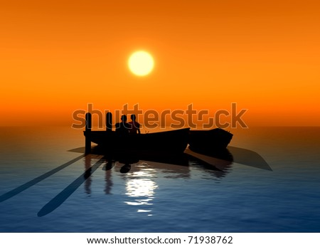 Young couple fallen in love sitting in a boat expecting the sun to rise.