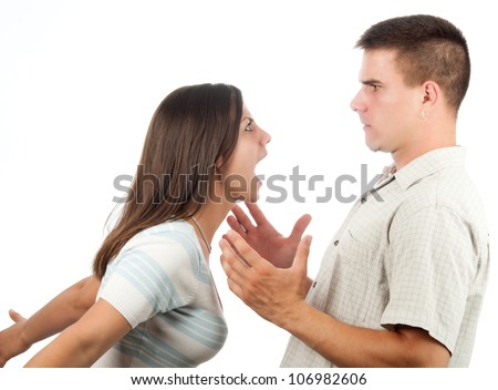 Young couple fighting isolated on white.