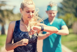Young couple finishing jogging
