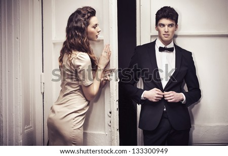 Young couple going out