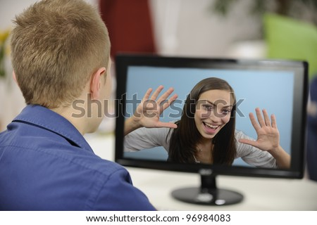 Young couple having a video conference