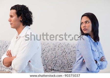 Young couple having an argument in the living room