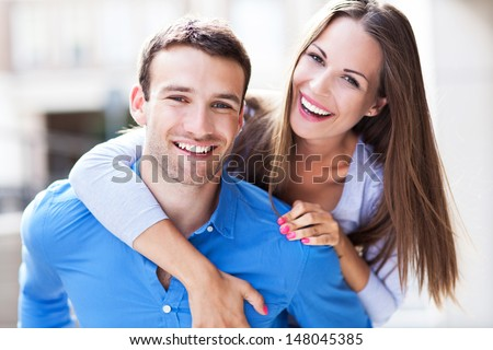 Young couple hugging