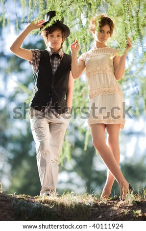 Young couple in a park. Soft colors.