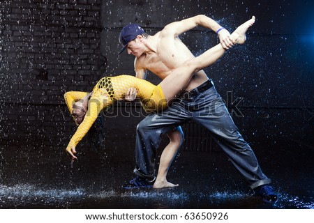 Young couple in aqua studio