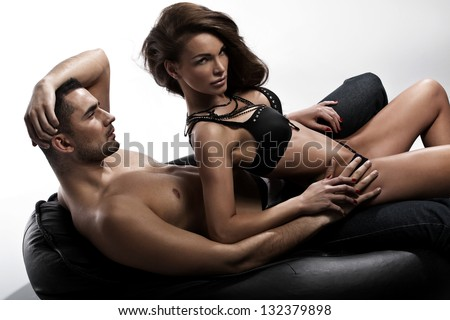 Young couple in erotic pose