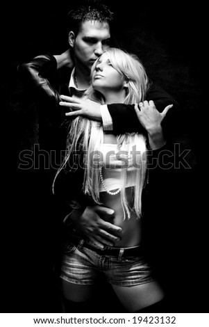 young couple in love, black and white
