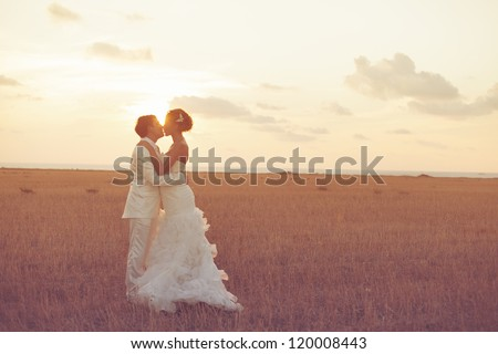 Young couple in love bride and groom posing in a field with yellow grass on sunset background in their wedding day in the summer. Series.