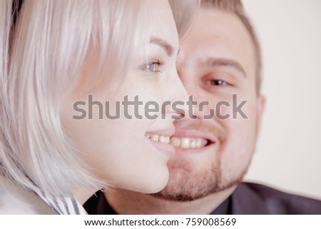 young couple in love (communication, feelings, joy, happiness, family concept)