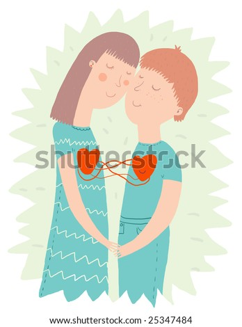 Young couple in love - cute illustration