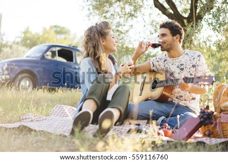 young couple in love doing a...