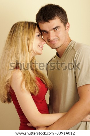Young couple in love, girlfriend looking at her boyfriend