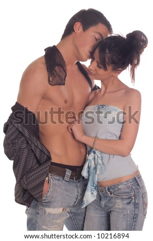 Young couple in love on white backgrounds