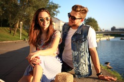 Young couple in love outdoor.Love,relationship and people concept.