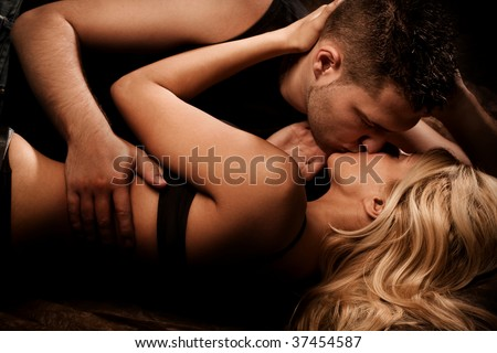 young couple in love, studio shot