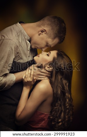 Young Couple Kissing in Love, Fashion Woman Man Romantic Passion Desire, Intimate Emotions of Lovers