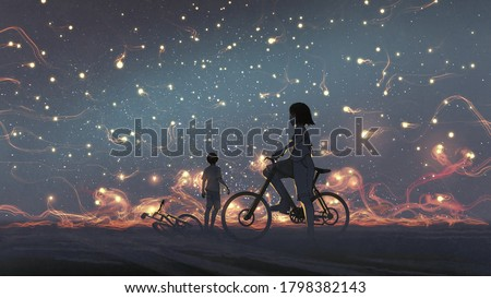 young couple look at mysterious light in the night sky, digital art style, illustration painting Foto stock ©