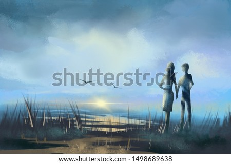 Young couple looking at the flying birds in the sky in summer evening.Digital painting.