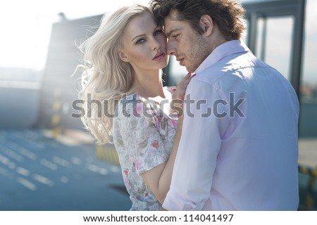 Young couple loving each other - stock photo