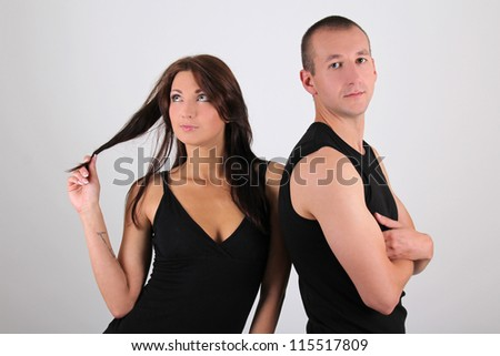 young couple man and woman over white background