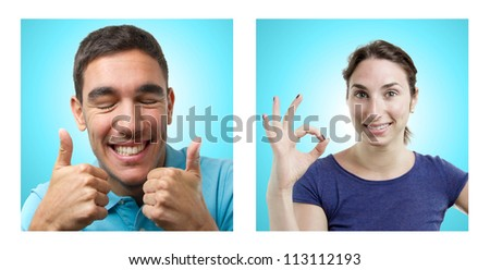 Young couple (man and woman) portraits over light blue gradient background