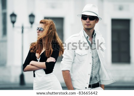 Young couple on the city street
