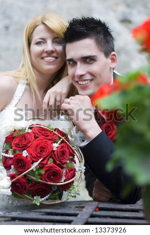 young couple on the wedding day portrait