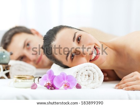 Young couple relaxing and having a spa treatment.