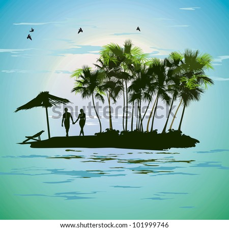 young couple relaxing on a tropical island