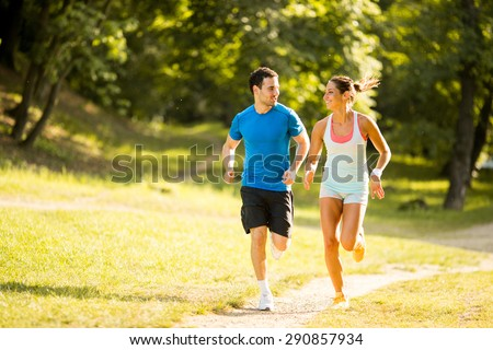 Young couple running #290857934