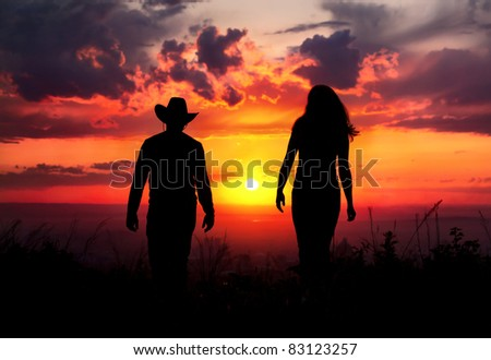 Western Couple Silhouette Young Couple Silhouette