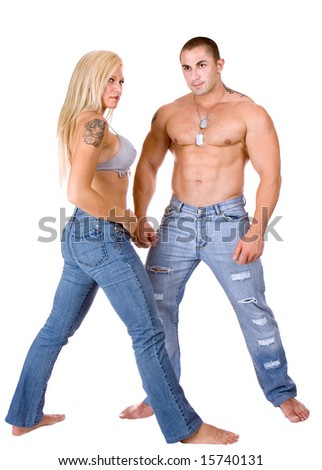 Young couple standing and posing