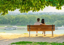 young couple under the tree with river view in Belgrade Kalemegdan
