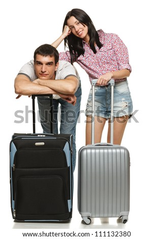 Young couple waiting for departure, anxious for leaving, isolated on white background