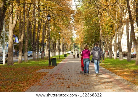 Young couple walking with carriage in autumn street. Rear view