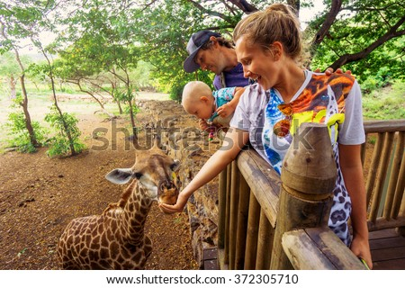 young couple with a baby feeding a giraffe at the zoo on a jungle background. The child laughs. Mauritius Casela Safari Park - Shutterstock ID 372305710