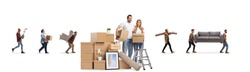 Young couple with a pile of cardboard boxes packing for home removal and other people in the back carrying items isolated on white background