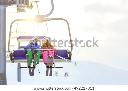 Young couple with skis outdoors #492227311