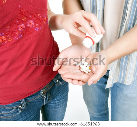 young couple woman and man with drugs