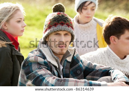 Young couples in the country