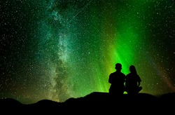 Young couples sit and watch the stars In the Vaventinian festival
