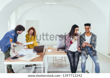 Young coworkers in the office