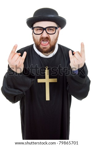 young crazy man dressed as priest, isolated on white