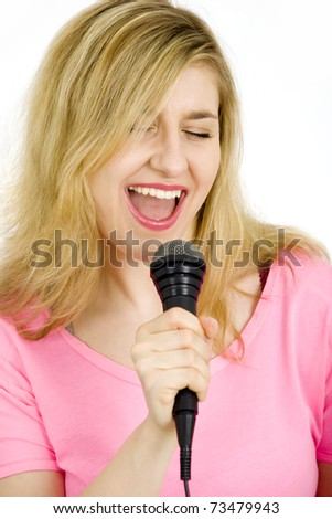 Young crazy woman singing