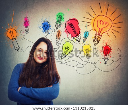 Young creative woman has great ideas as colorful light bulbs over head. Smart and ingenious girl different thinking, genius solutions concept. Alternative interpretation as the way to success.