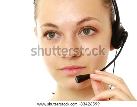Young Customer Representative with headset over white background